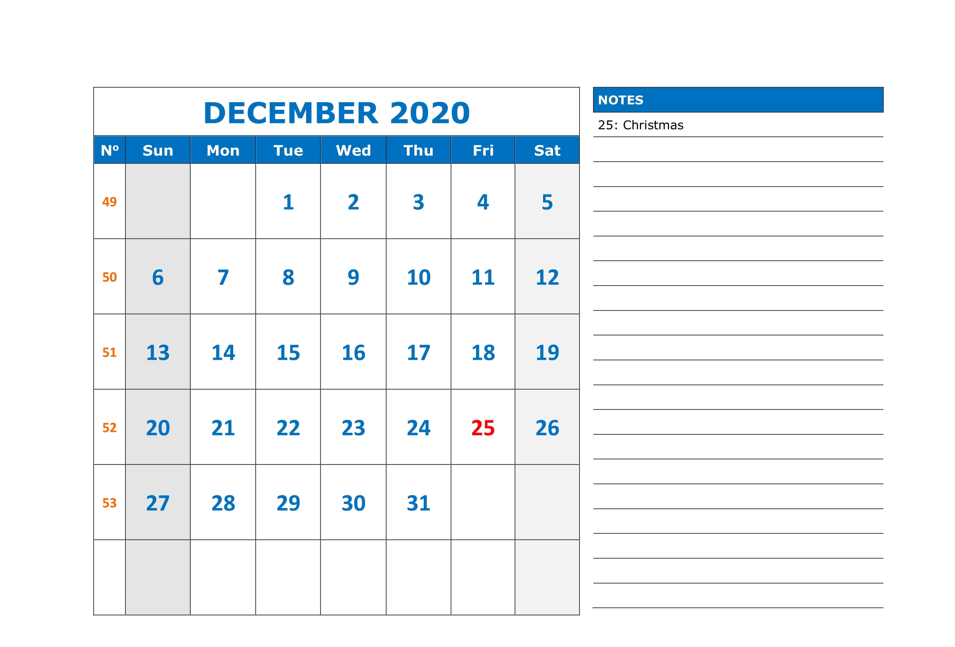 Print December 2020 Blank Calendar Page with Notes