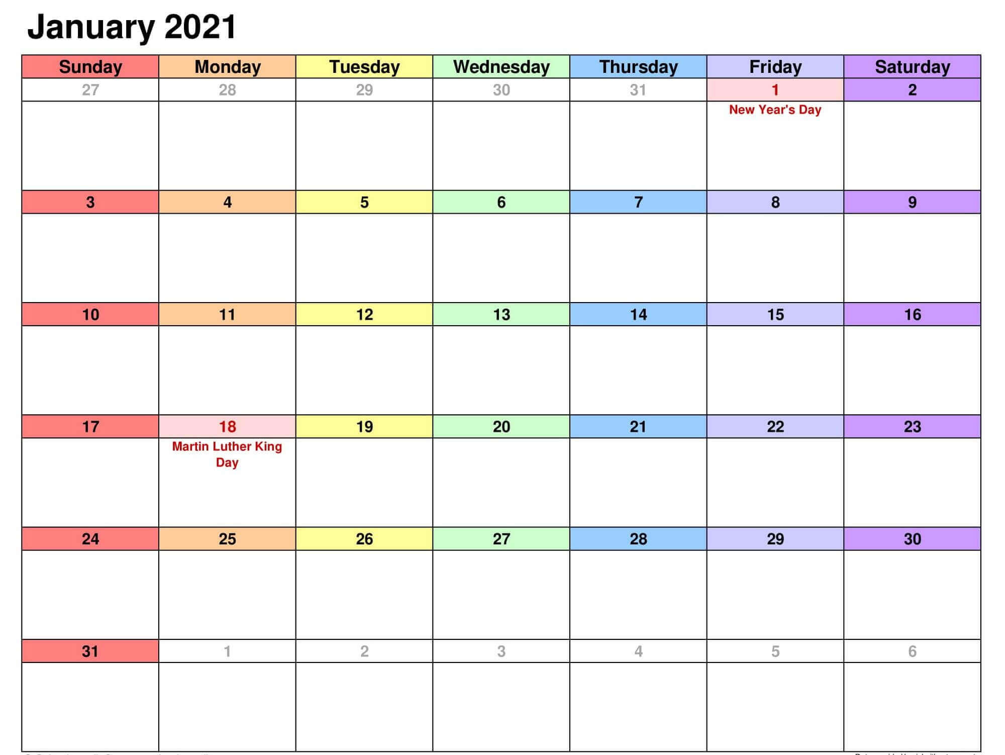 15+ Free Blank January 2021 Fillable Calendar Template To ...