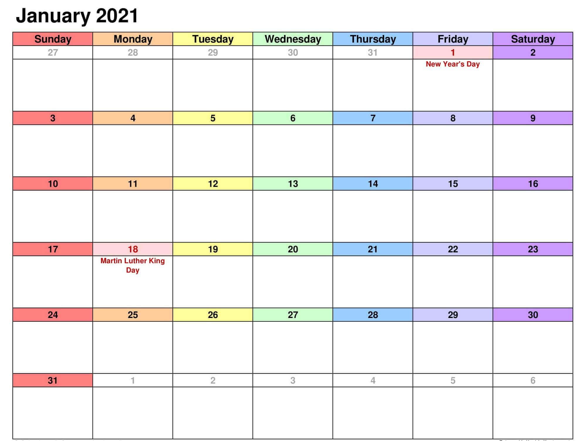 Print January 2021 Calendar PDF