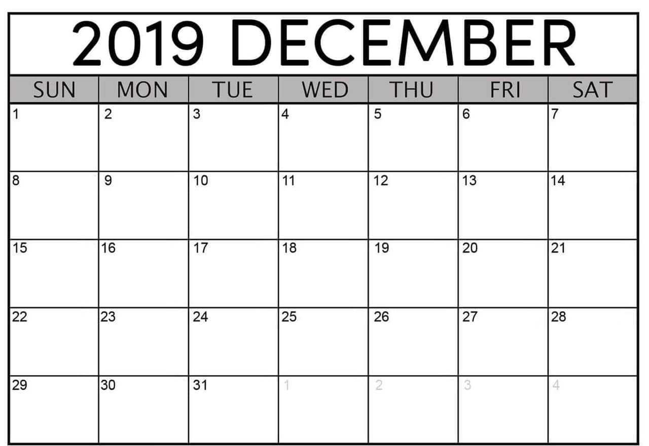 Printable Blank Calendar December 2019