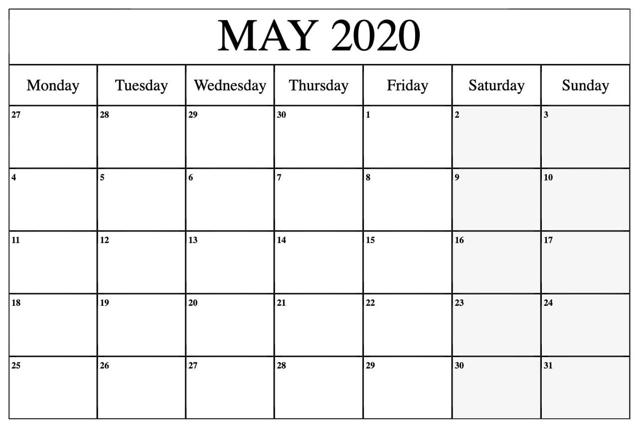 Printable Blank May 2020 Calendar
