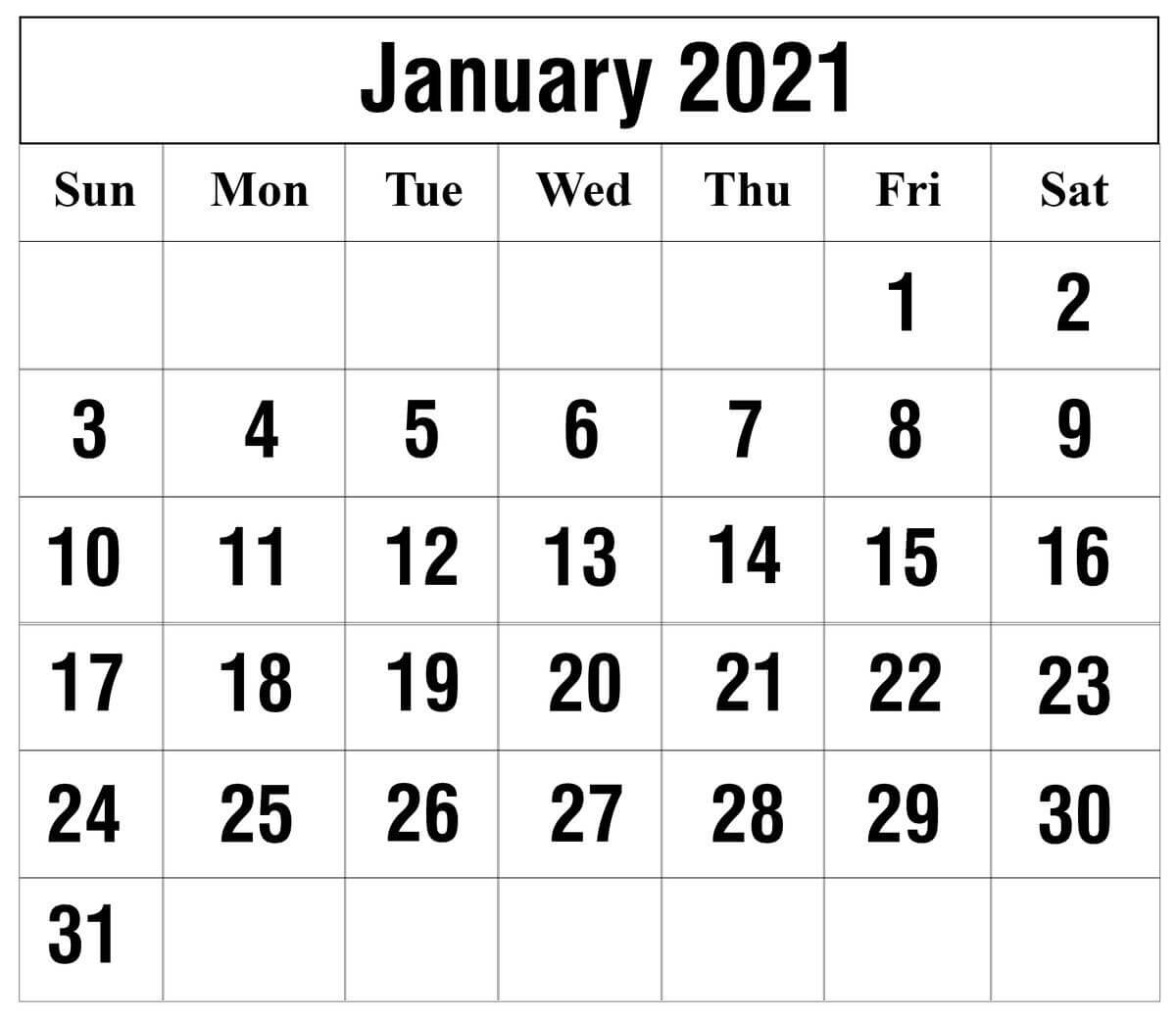 Printable Calendar 2021 January Fillable Template
