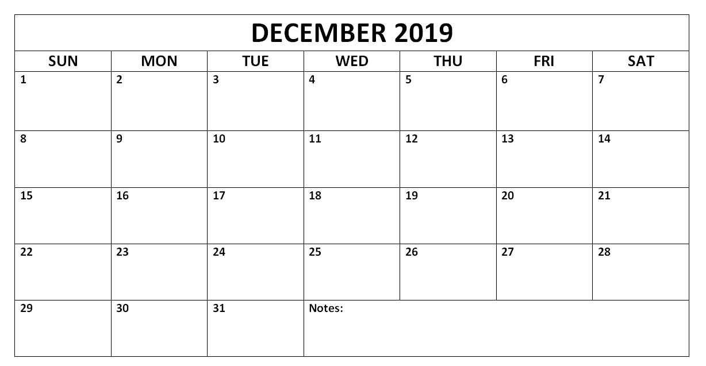 Printable December 2019 Calendar Page