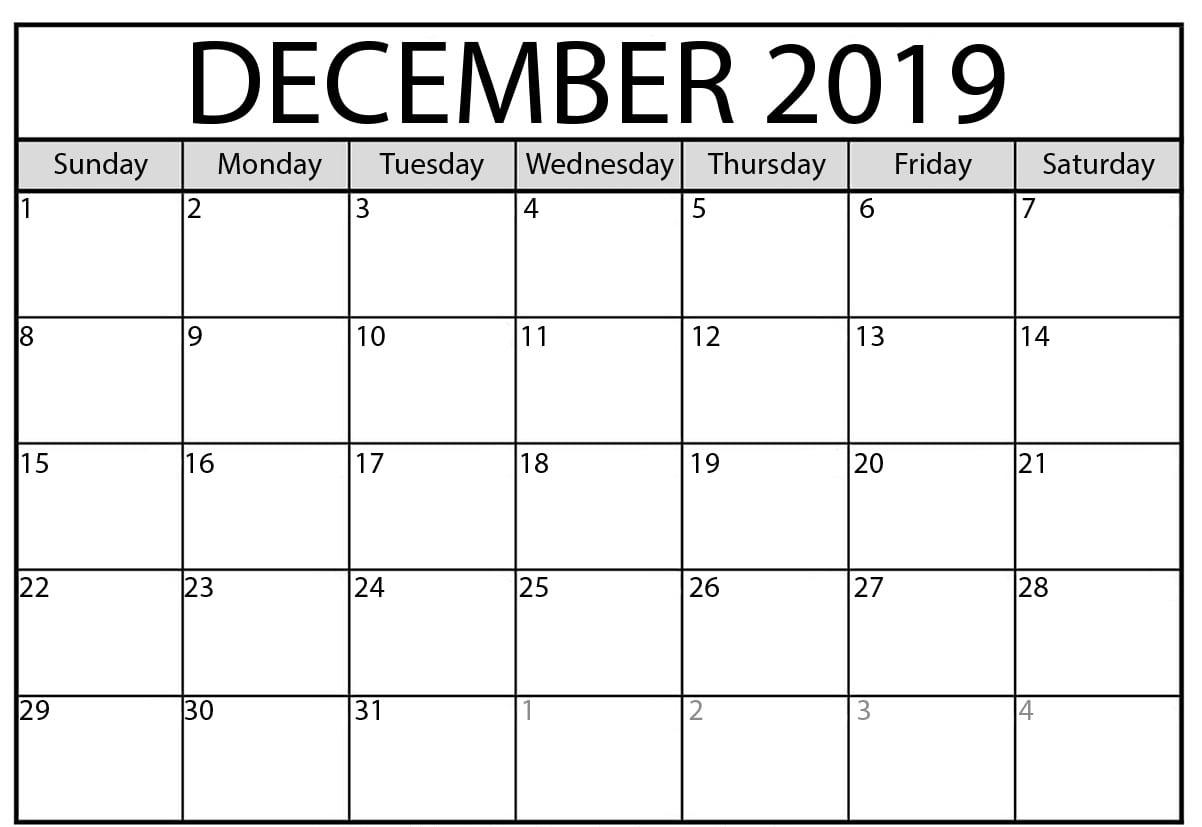 Printable December 2019 Calendar
