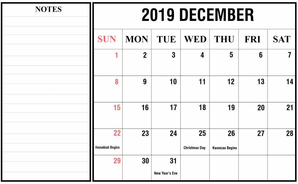 Printable December 2019 Holidays Calendar with Notes