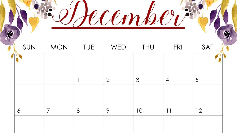 Printable December 2020 Calendar Cute