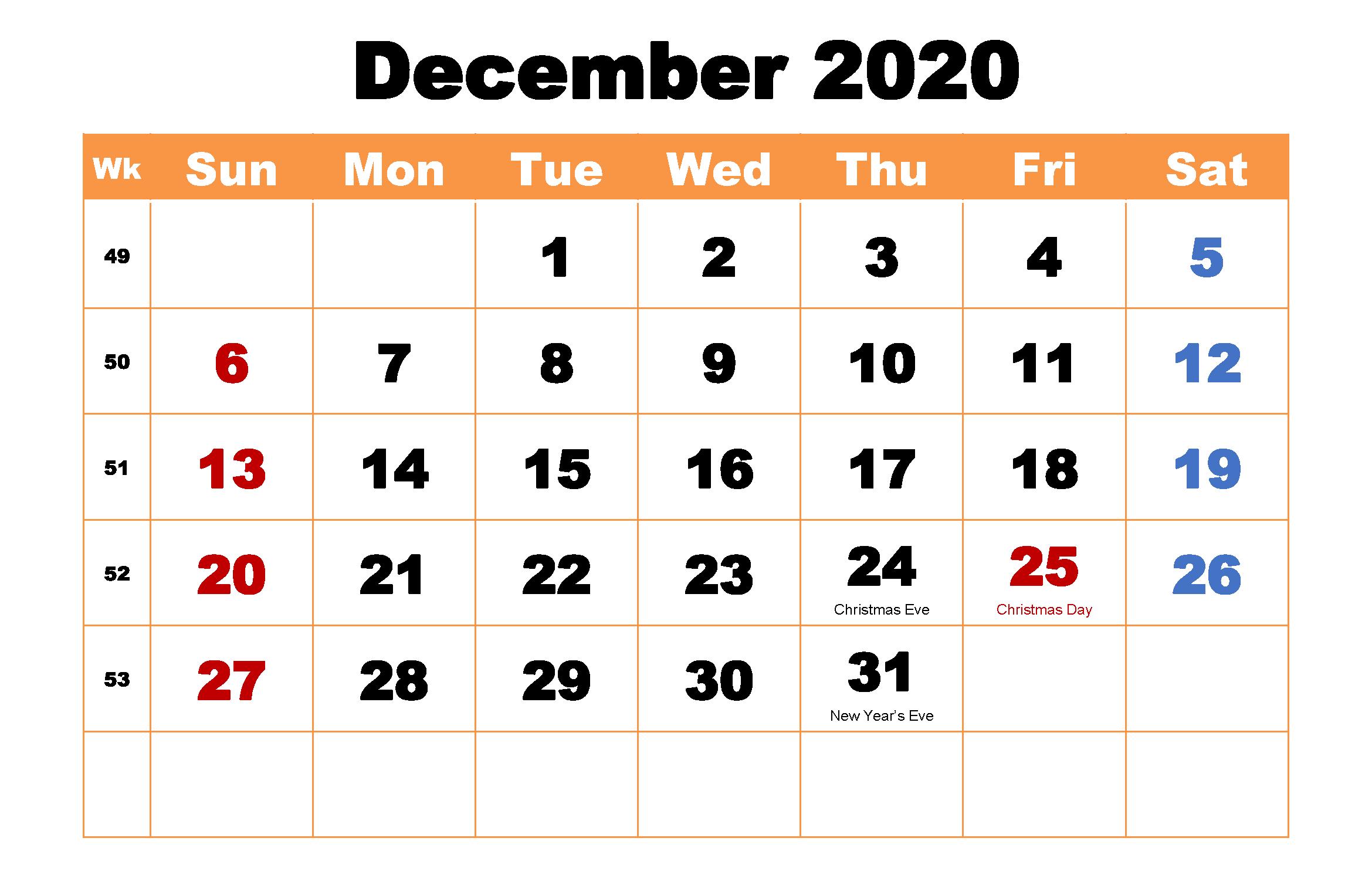Printable December 2020 Holidays Calendar Template
