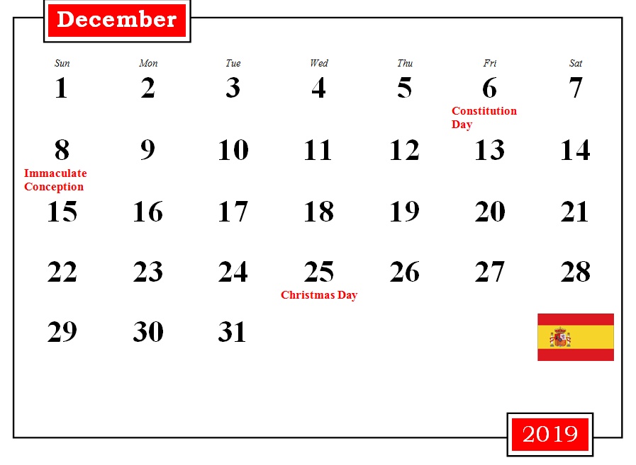 Spain Holidays Calendar December 2019