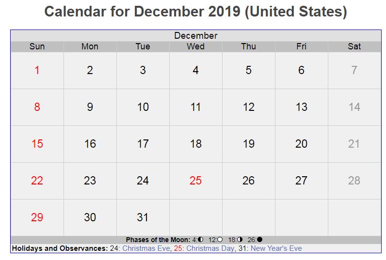 USA Holidays Calendar December 2019