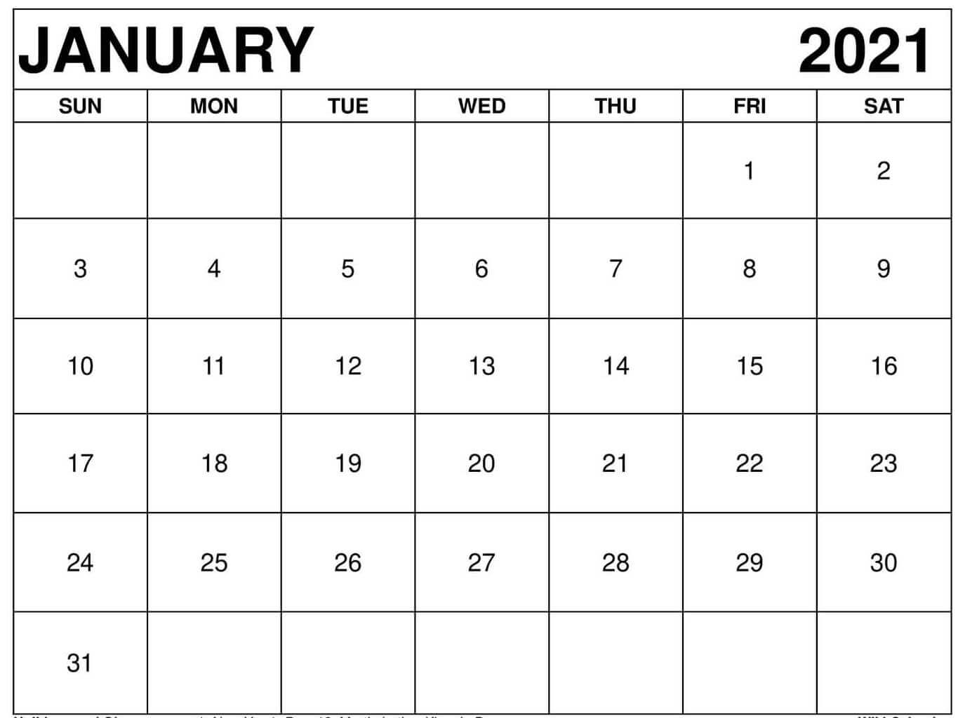 blank calendar of january 2021 month