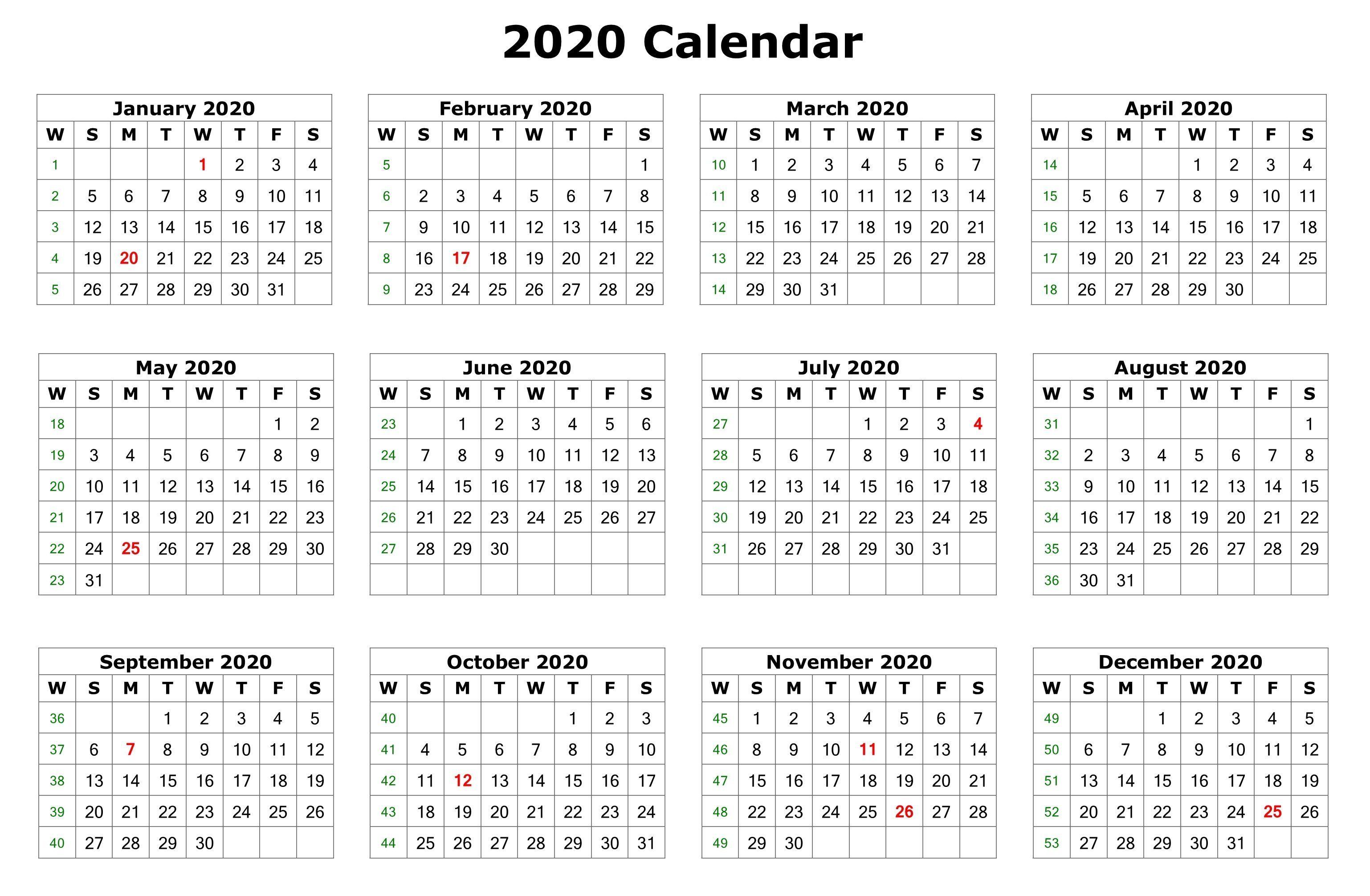 12-Month 2020 Blank Printable Calendar