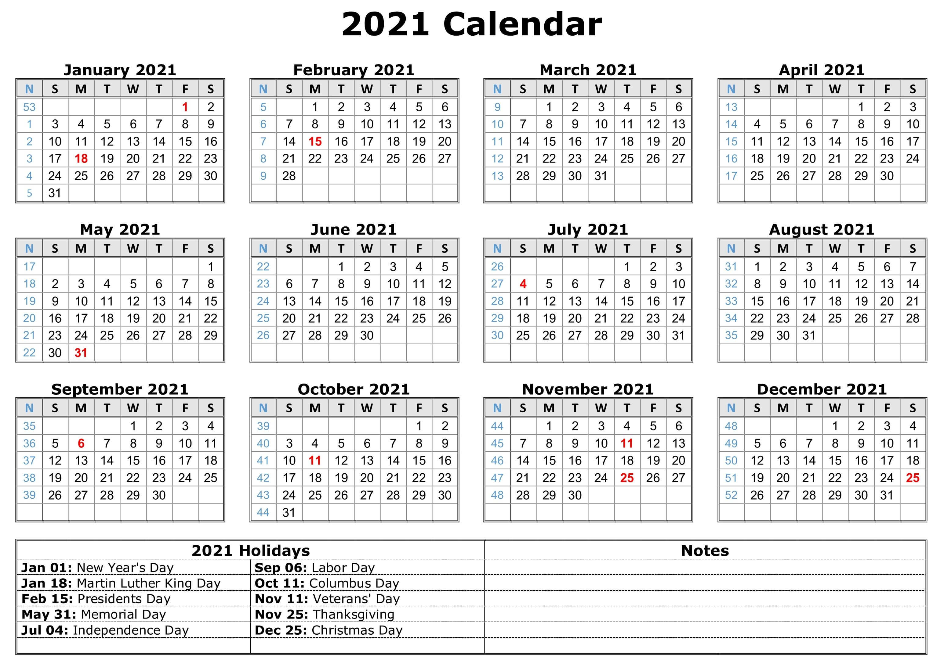 12-Month Printable 2021 Yearly Calendar