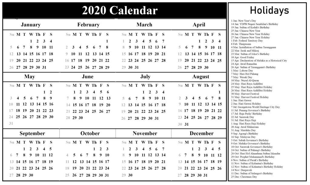 2020 Calendar Template With Holidays