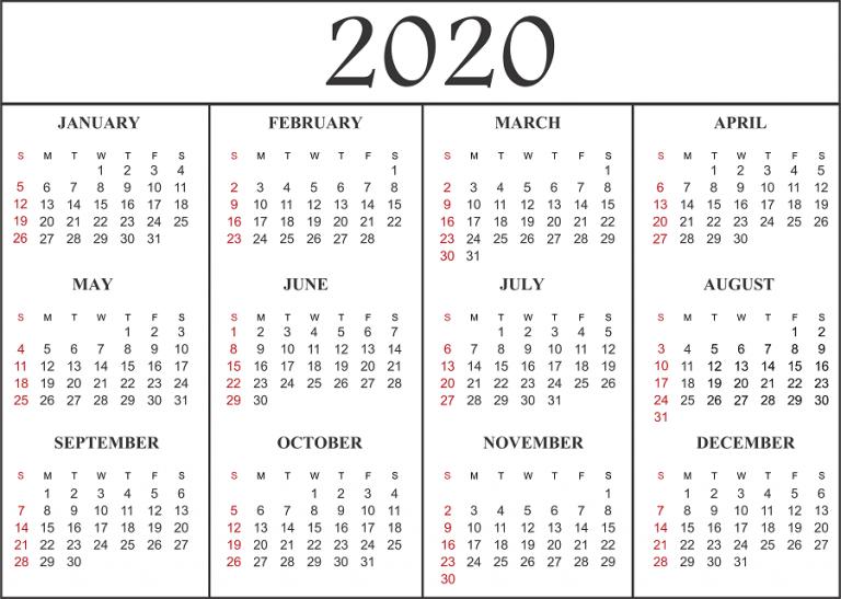 2020 Calendar Template Word