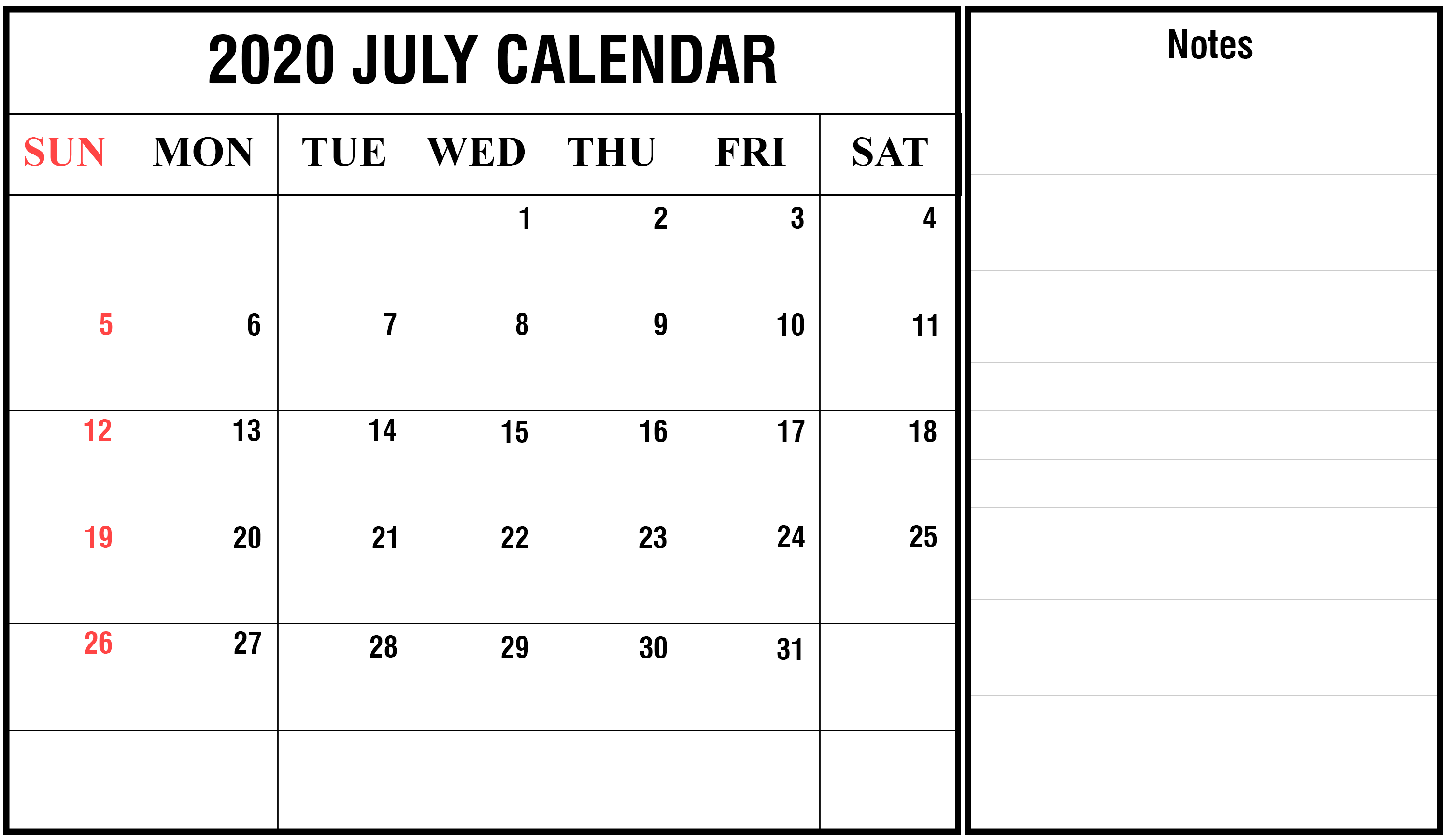 2020 July Calendar with Notes