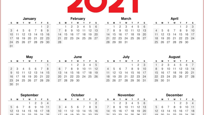 2021 Printable Calendar Blank Template