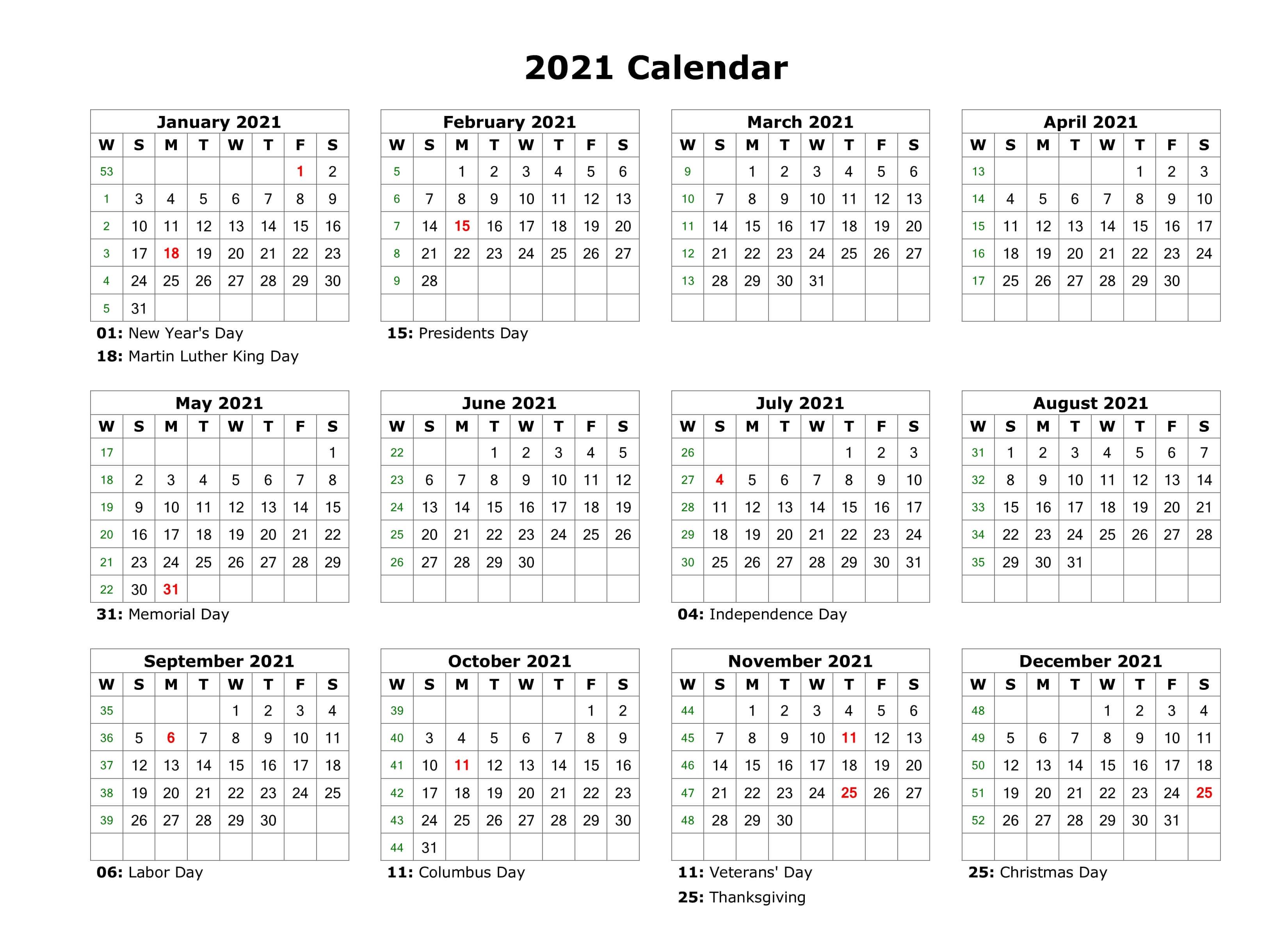 Blank Calendar Template 2021
