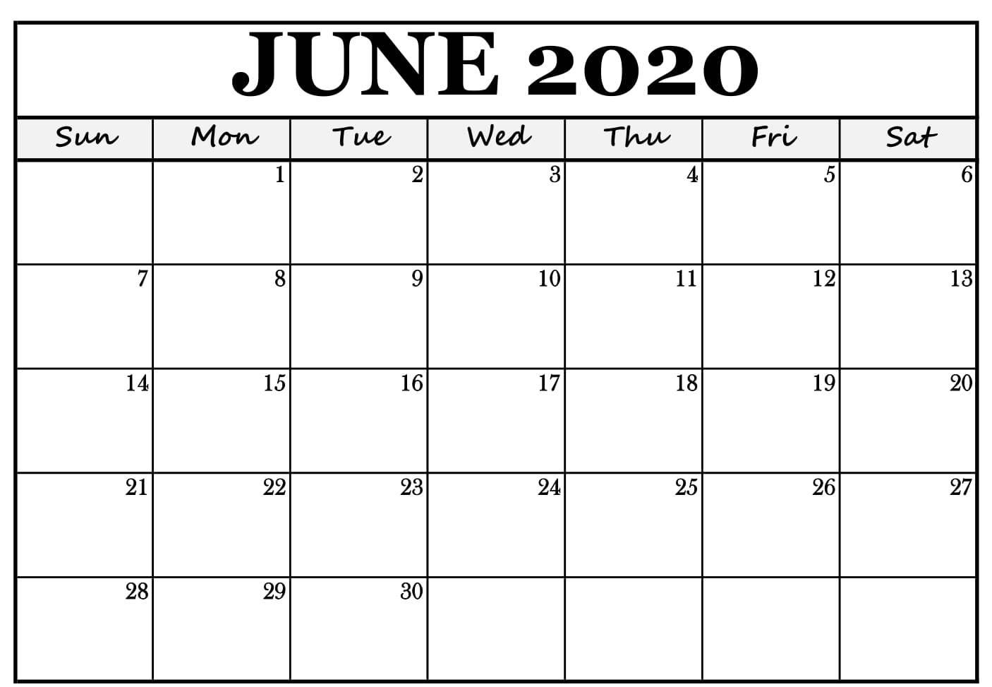 Blank Calendar Template June 2020