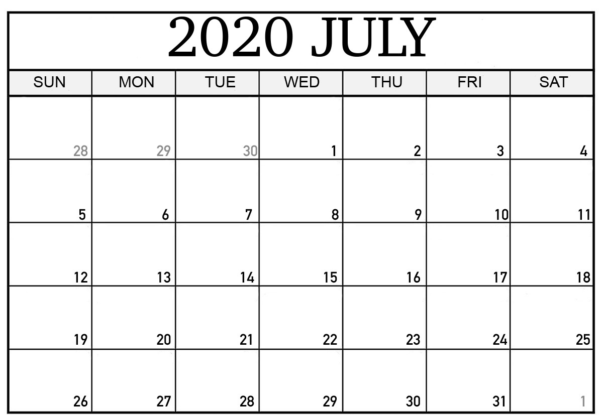 Blank July 2020 Excel Worksheet