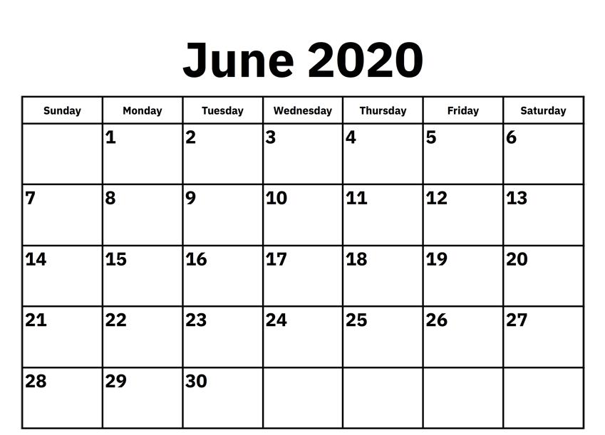 Calendar For June 2020