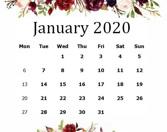 Cute January 2020 Floral Desk Calendar