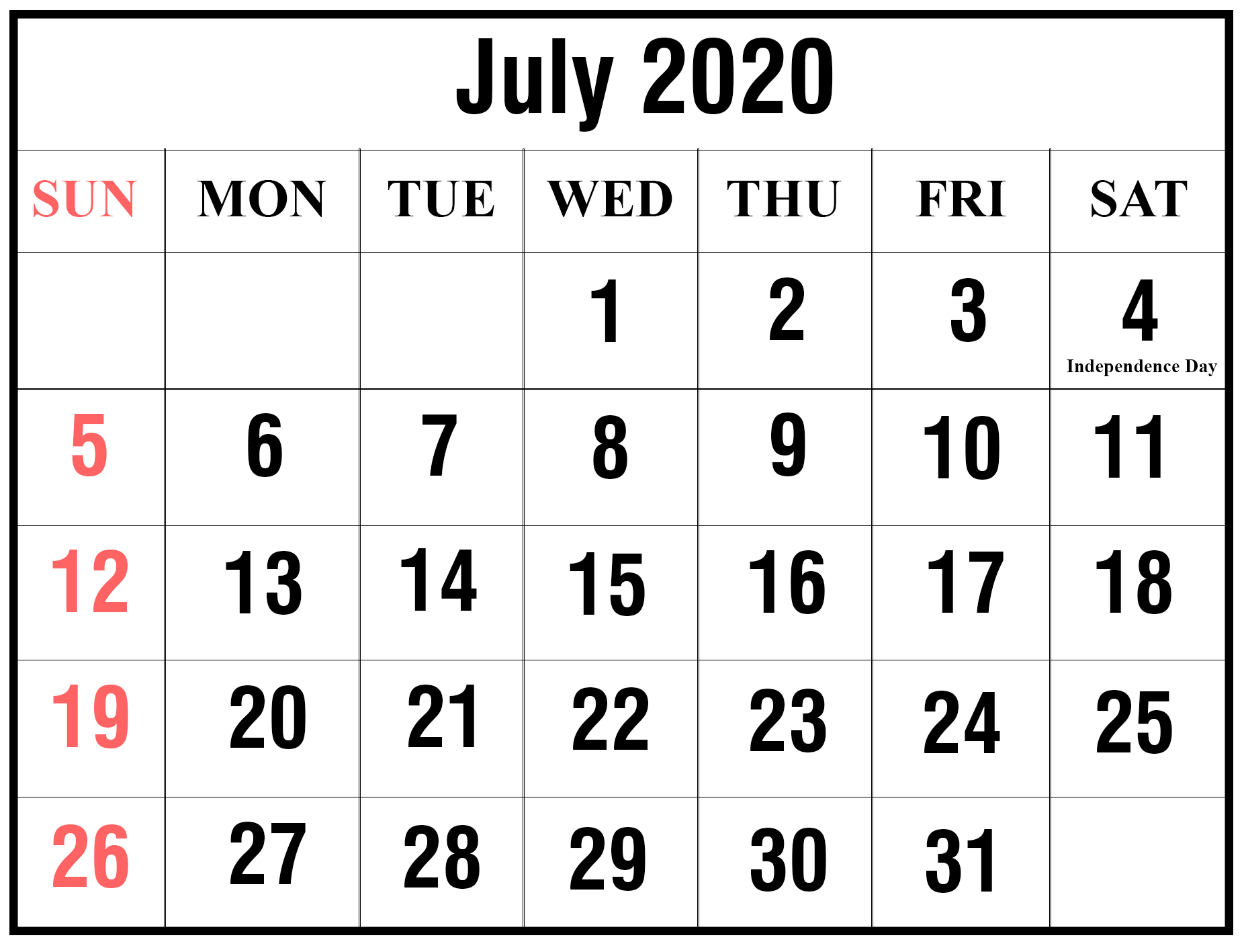 Editable July 2020 Blank Calendar Template
