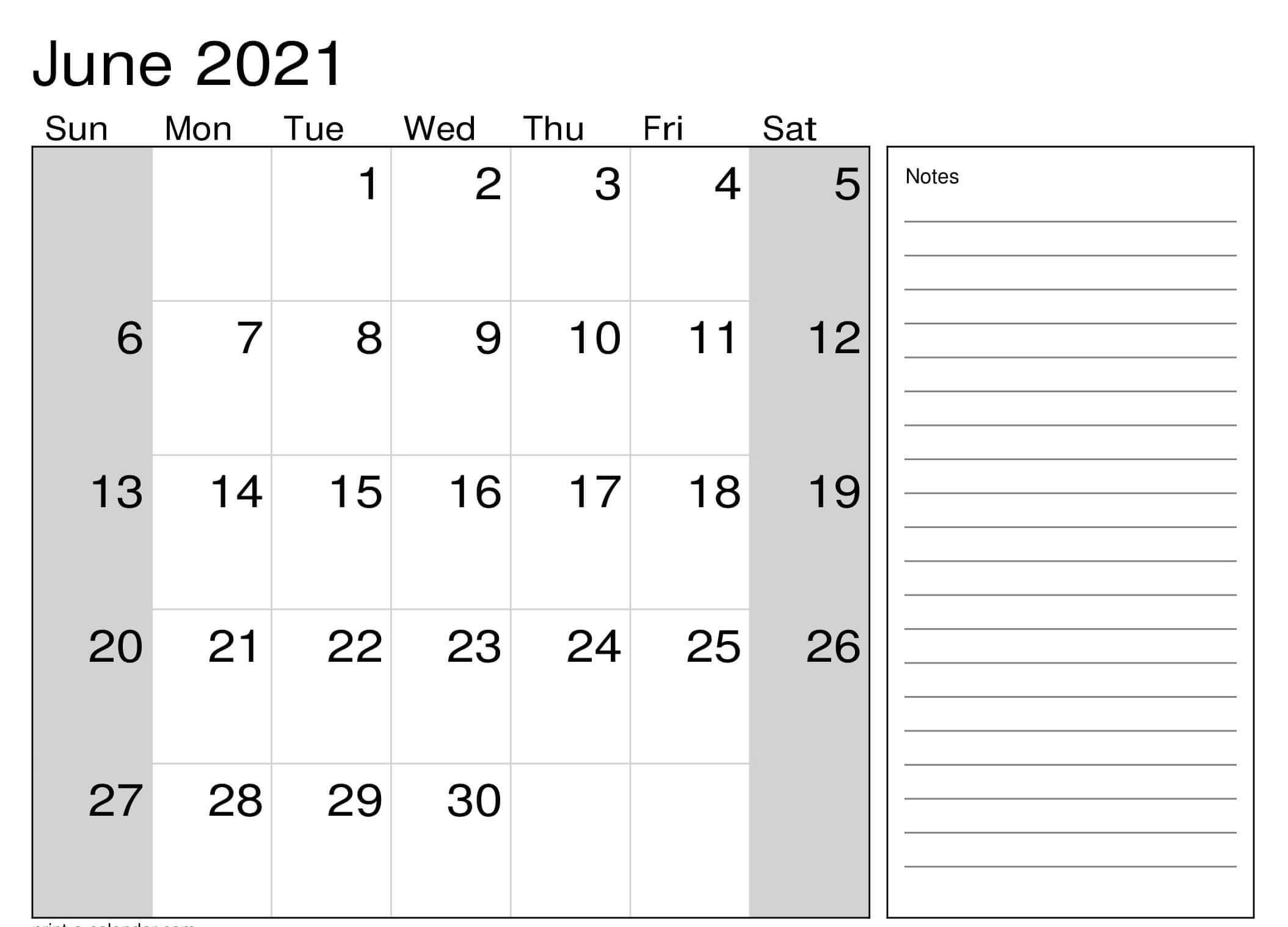Editable June Calendar 2021 Template