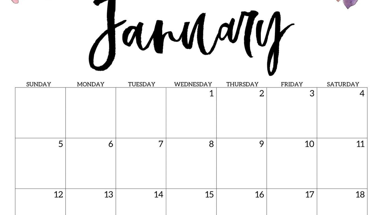 Floral January 2020 Calendar