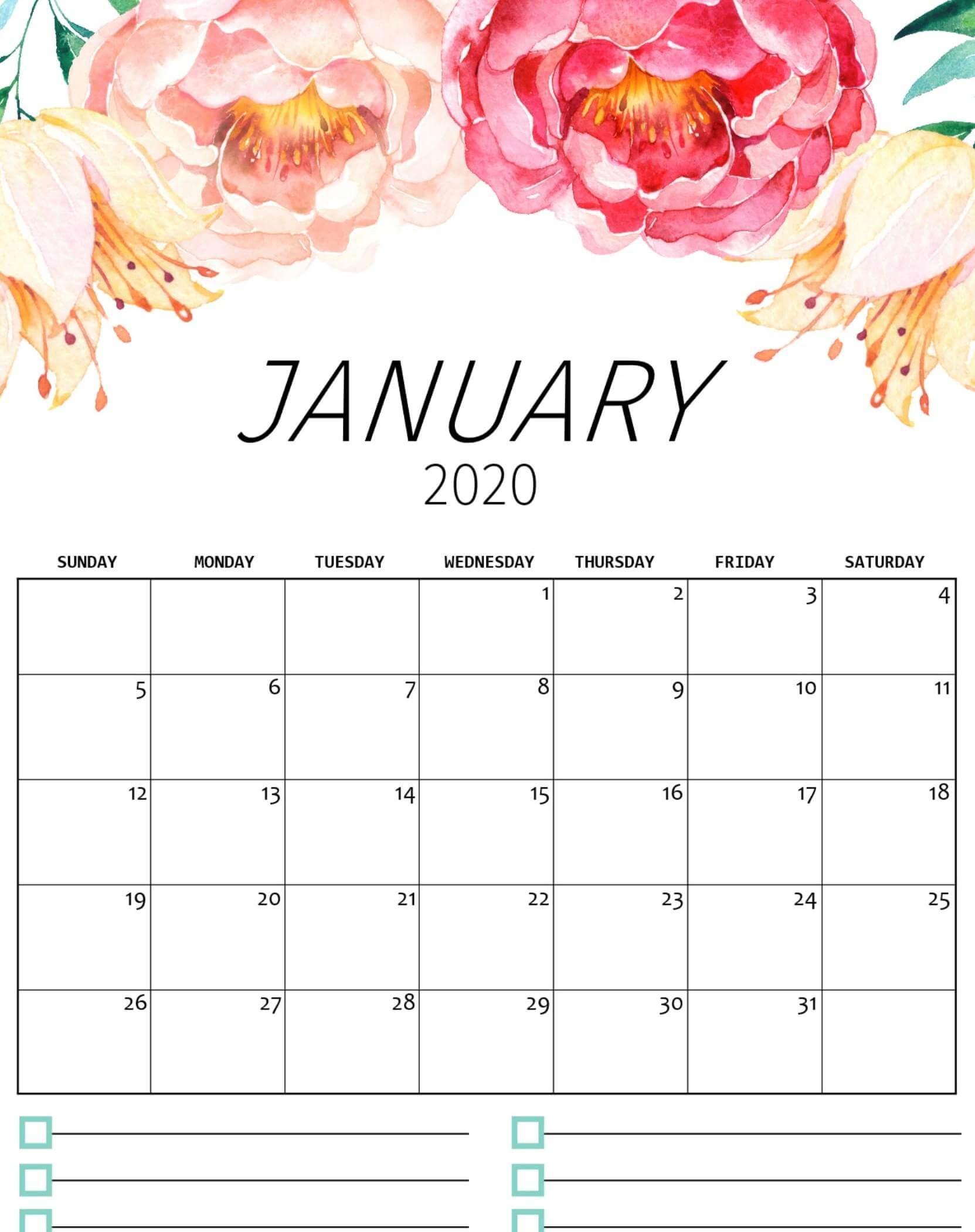 Floral January 2020 Calendar Template
