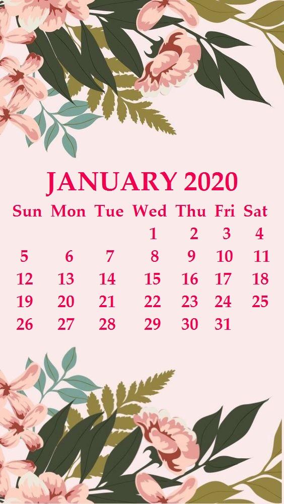 Floral January 2020 Calendar Wallpaper
