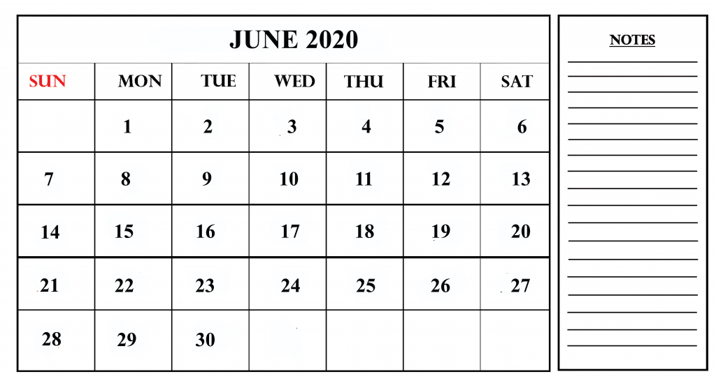 Free Printable Calendar June 2020 with Notes