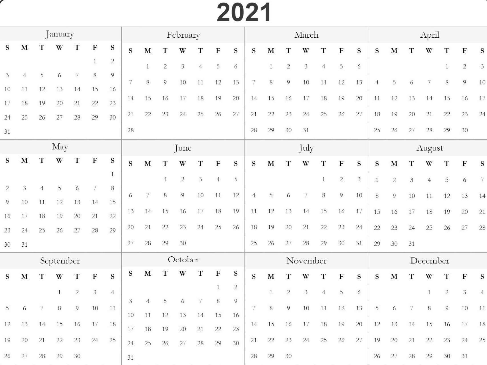 Free Printable Calendar Template 2021