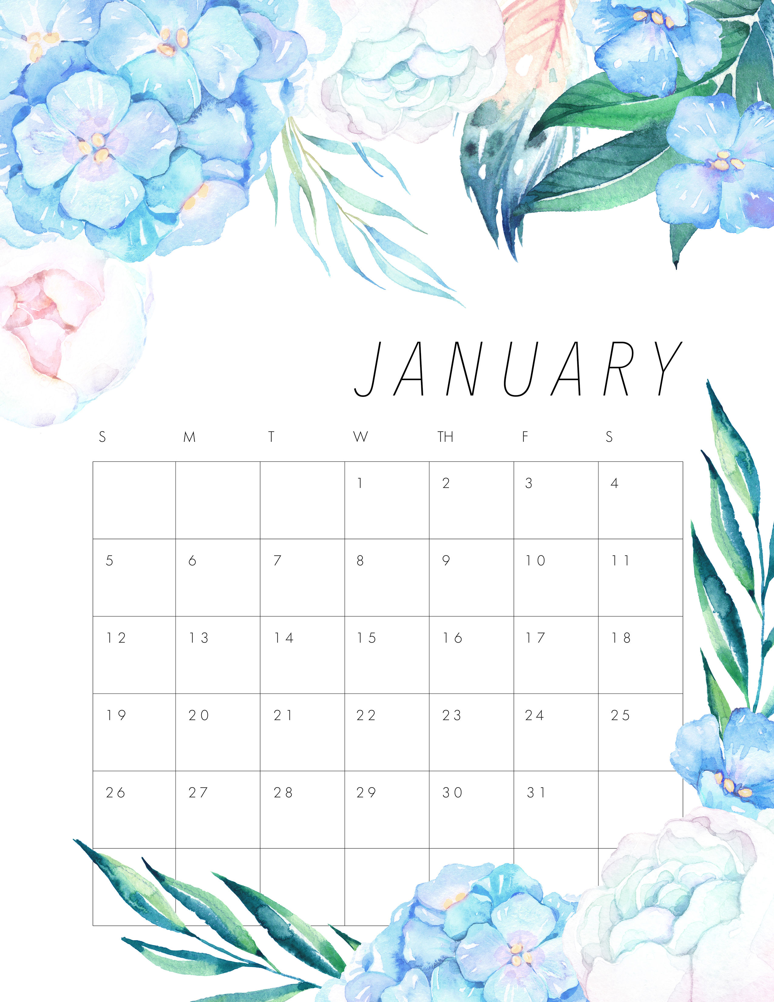 Free Printable January 2020 Floral Calendar