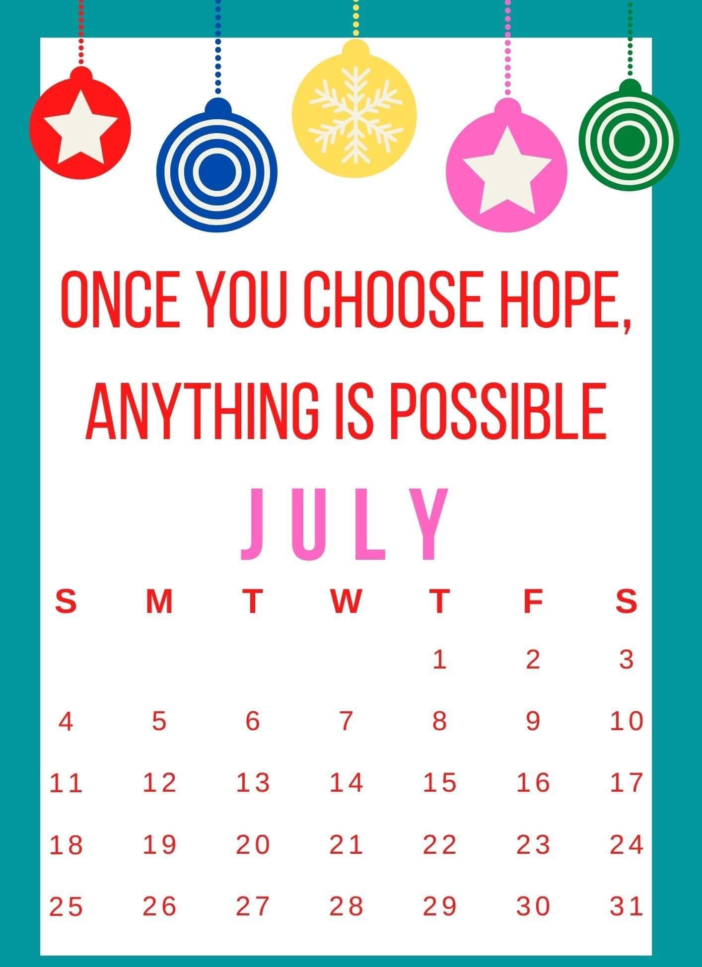 Inspirational July 2021 Quotes Calendar