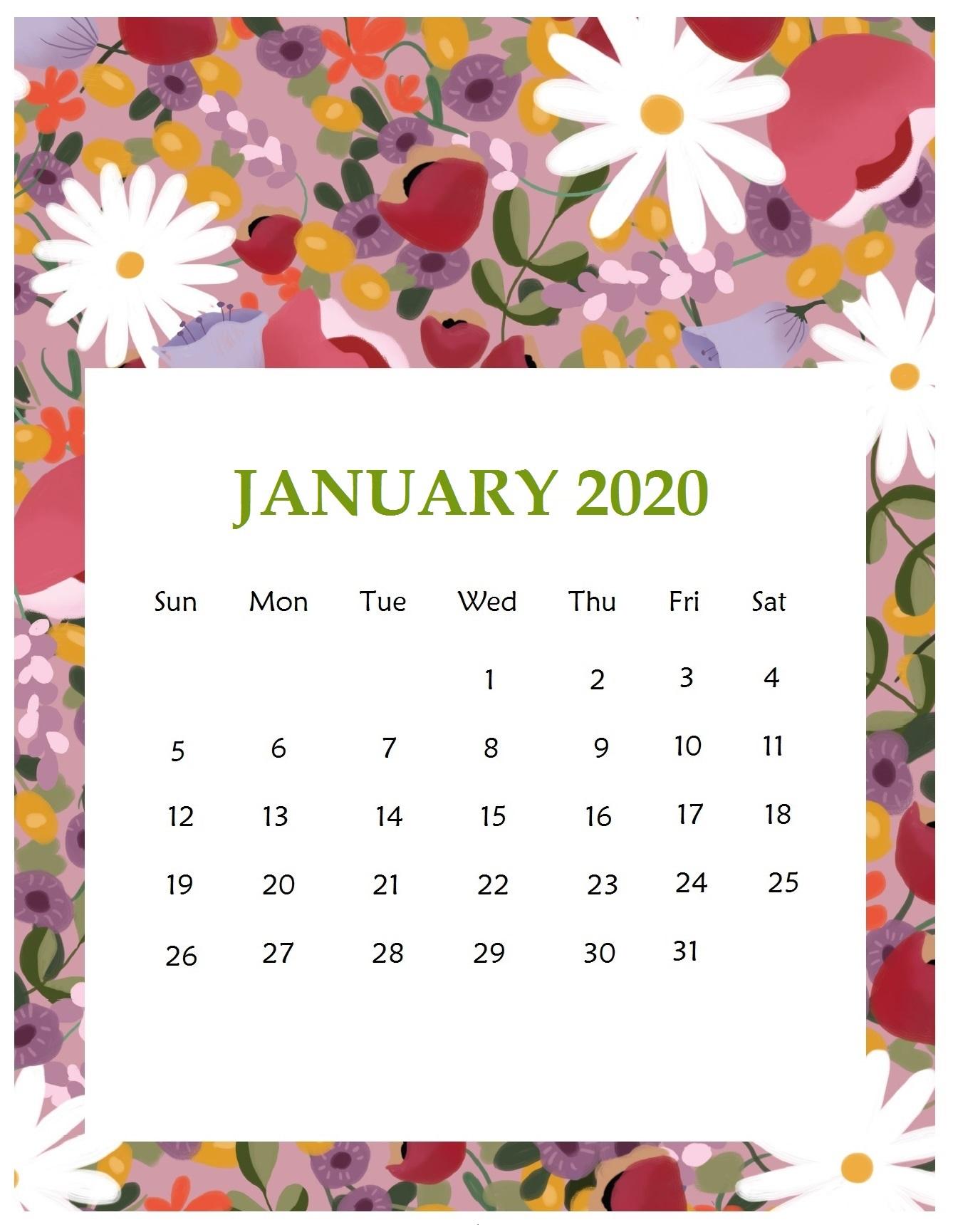 January 2020 Floral Wall Calendar