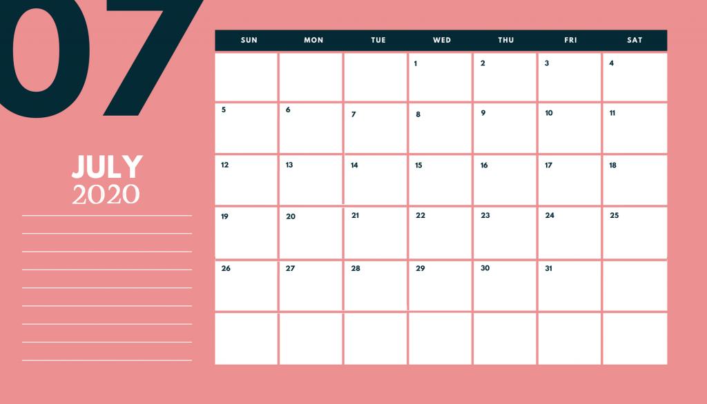 July 2020 Desk Calendar