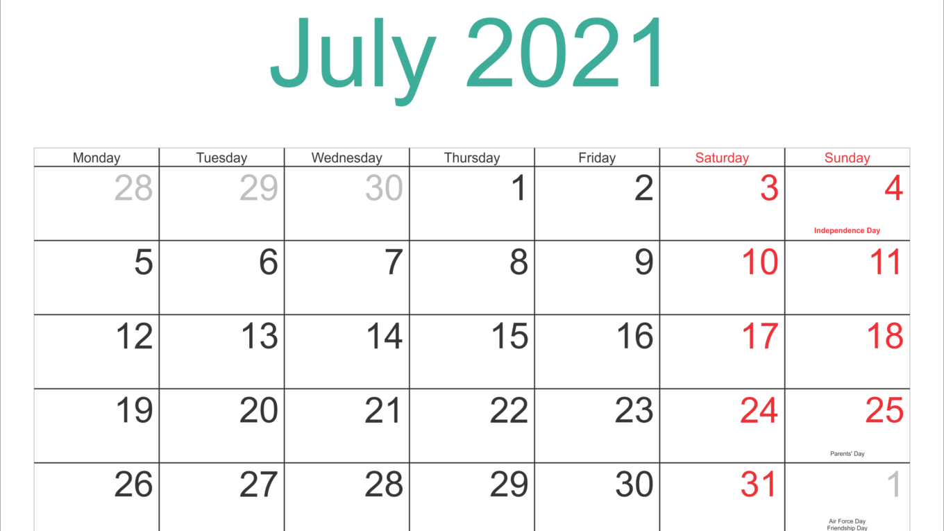 July 2021 Holidays Calendar Template