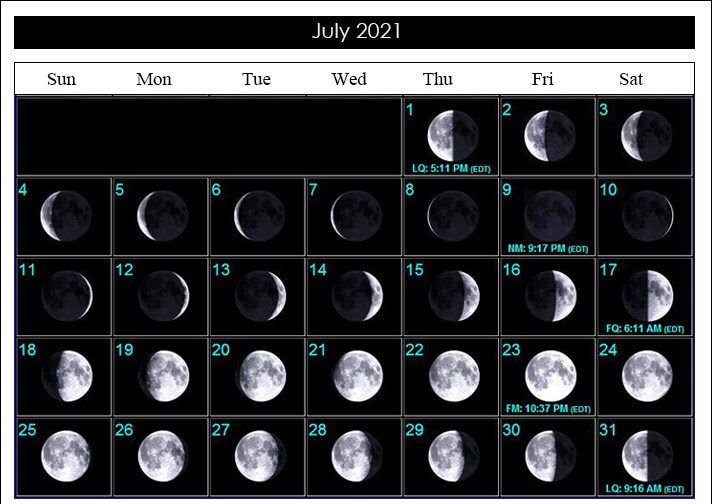 July 2021 Lunar Calendar with Phases