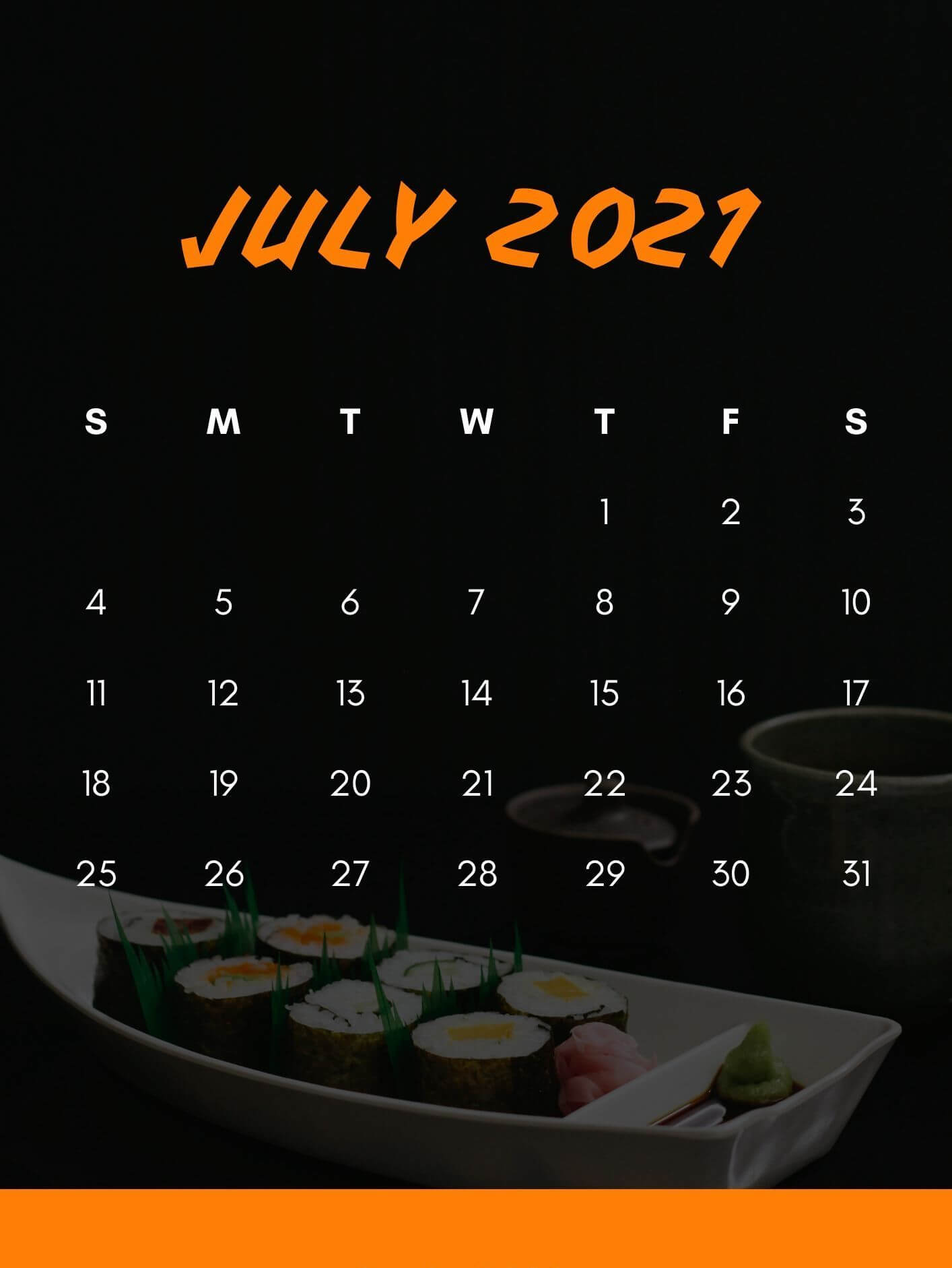 July 2021 iPhone Calendar Wallpaper
