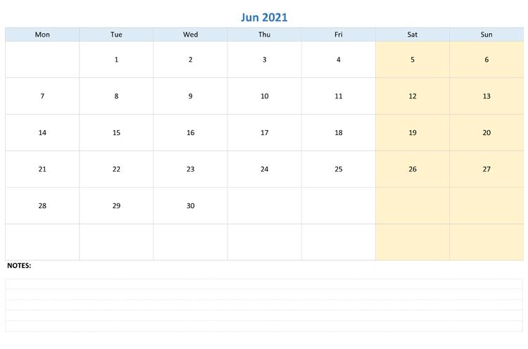 June 2021 Calendar Template