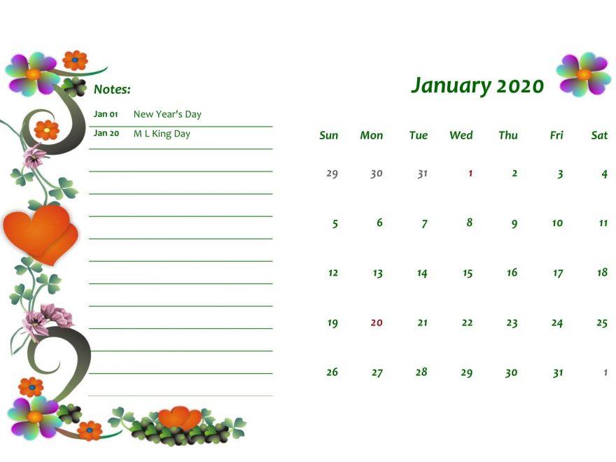 Online January 2020 Calendar Floral