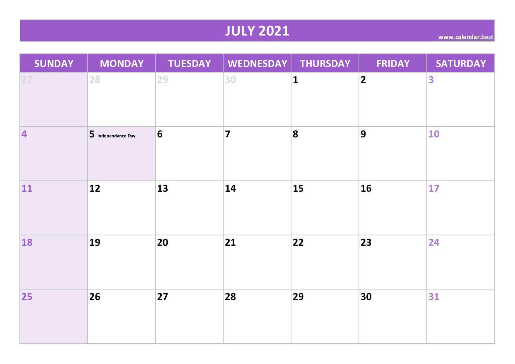 Online July Excel Calendar 2021