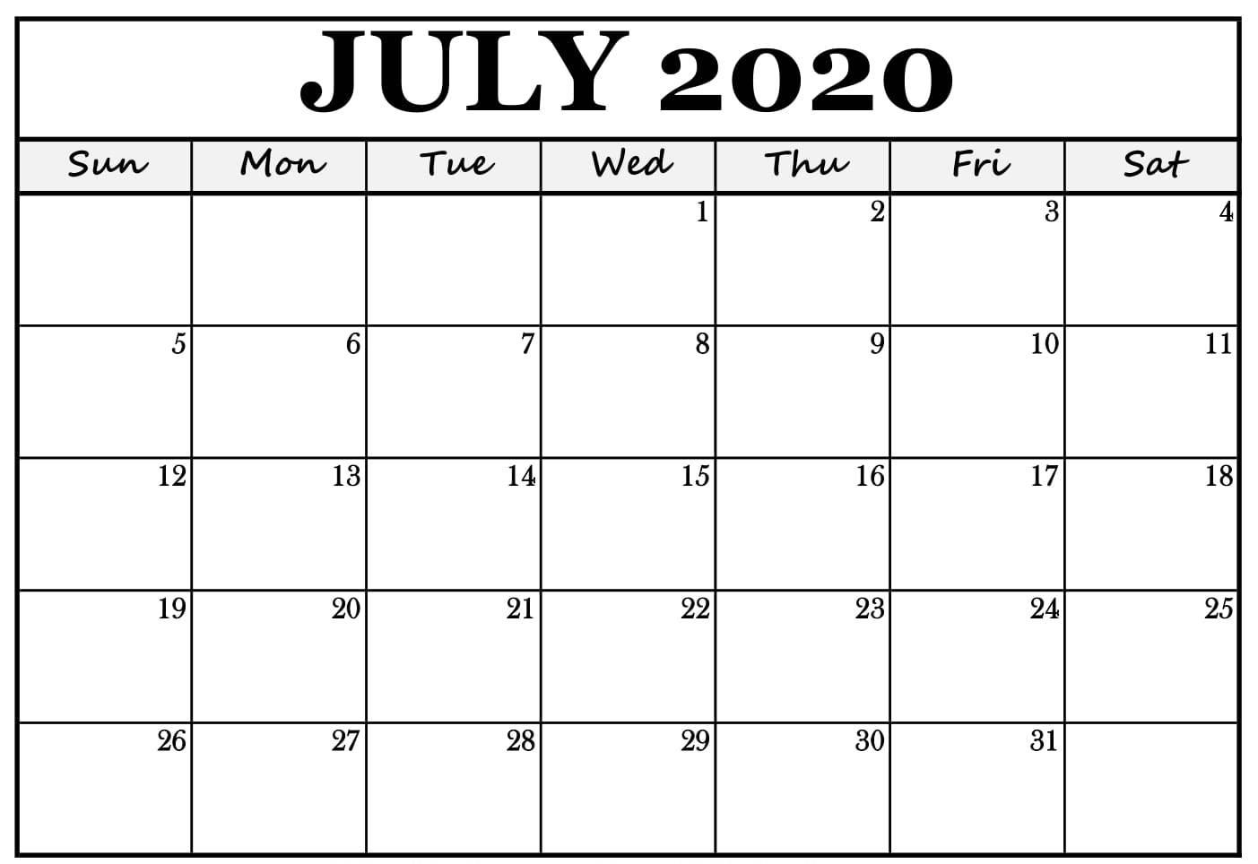 Print July 2020 Wall Calendar