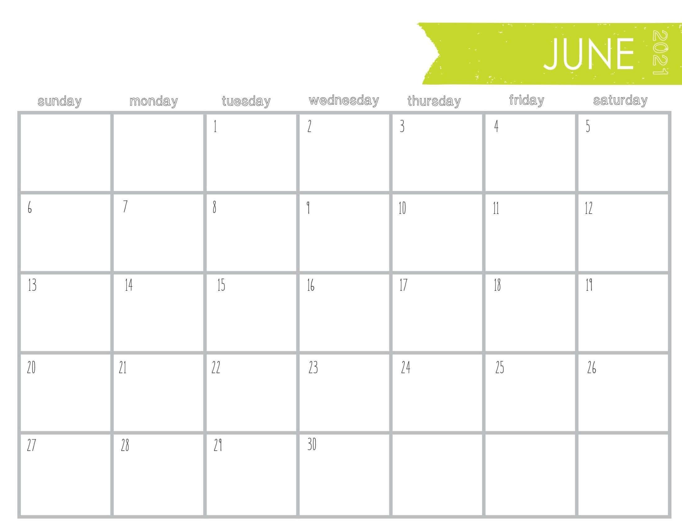 Print June Calendar 2021