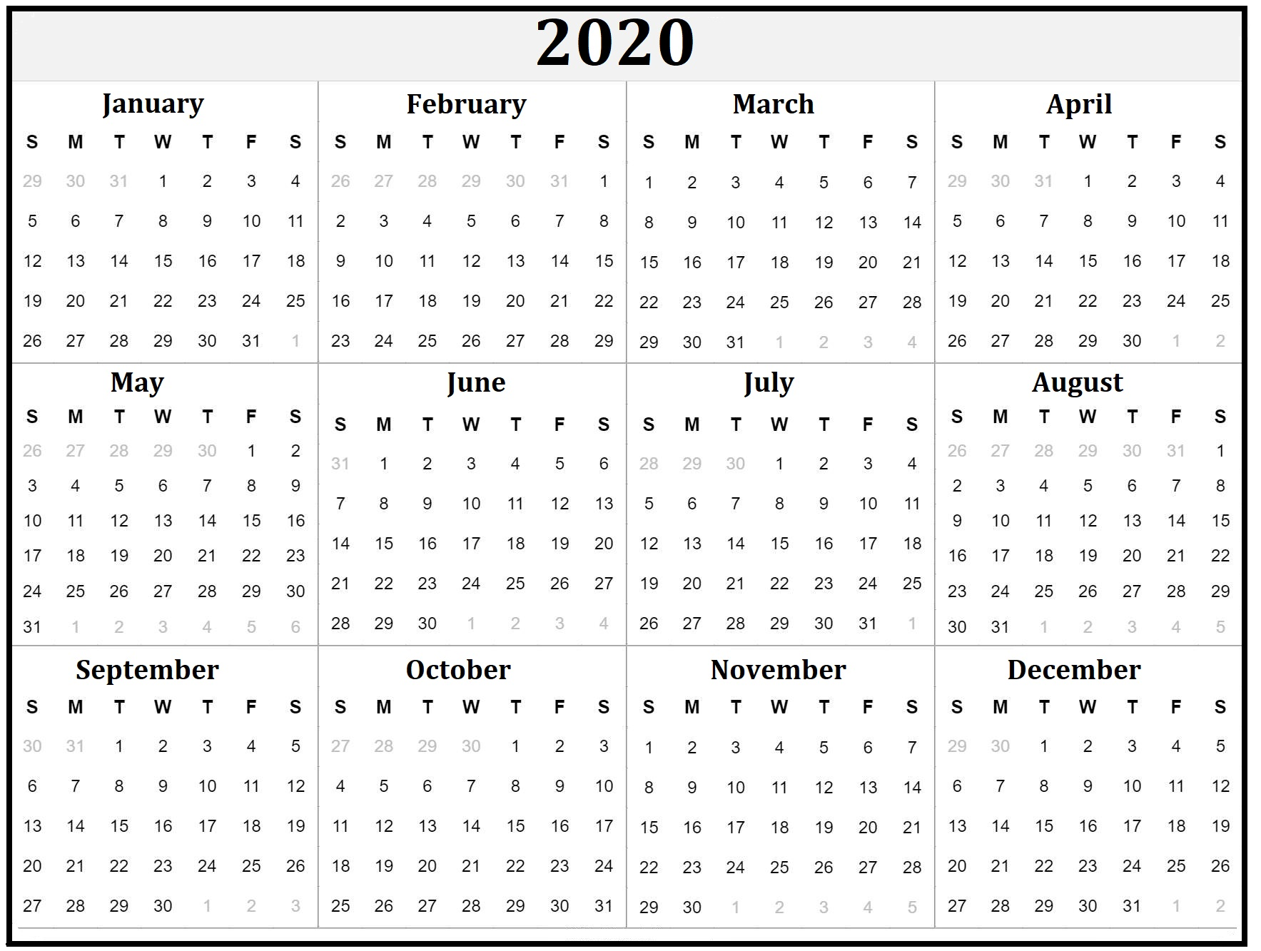 Printable 2020 Yearly Calendar Template