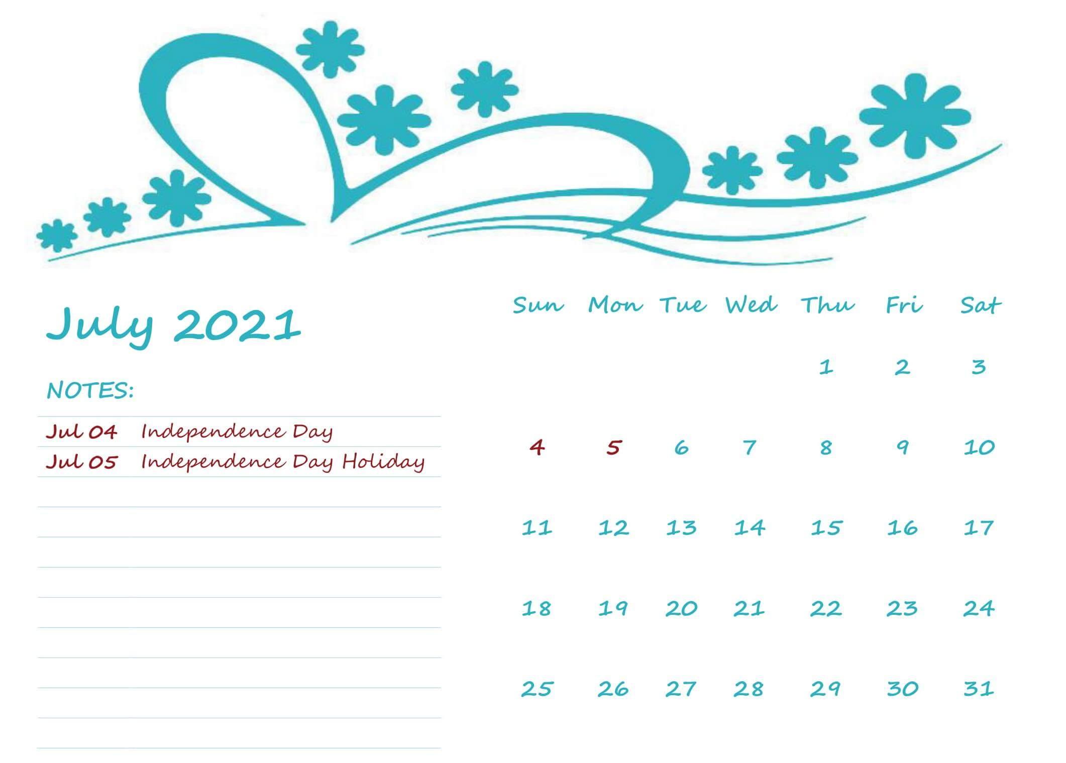 Printable Calendar July 2021 Month