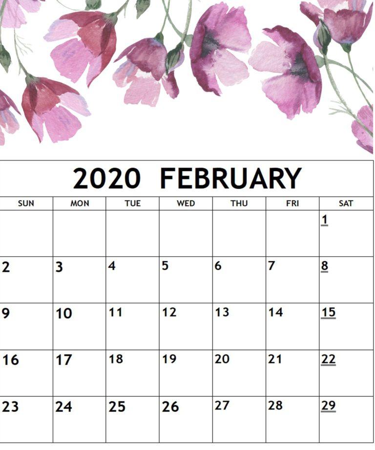 2020 February Floral Calendar