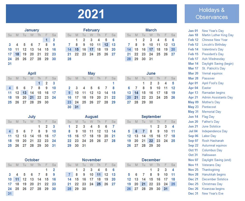 2021 Holidays Calendar Template
