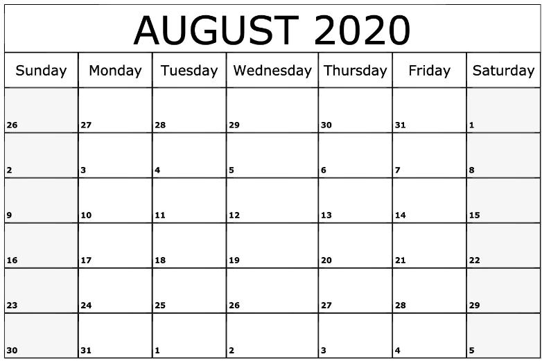 August 2020 Printable Calendar