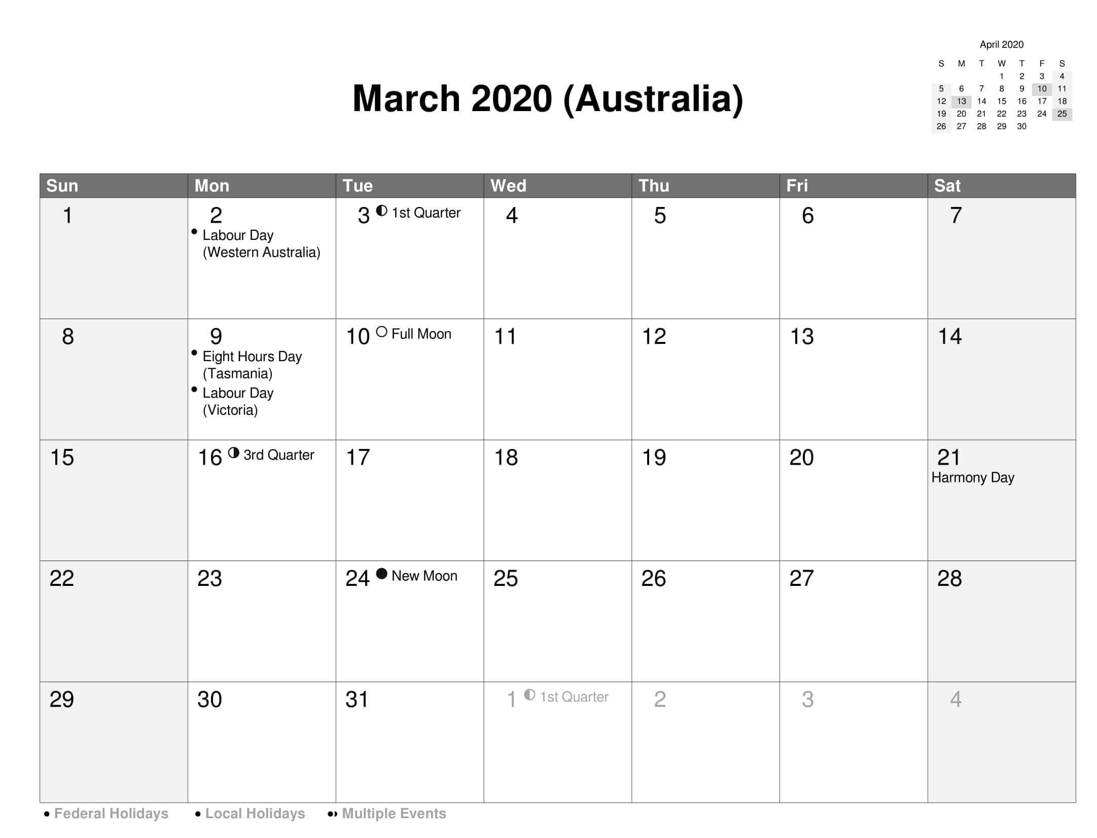 Australia Holidays Calendar March 2020